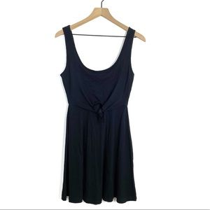 LSpace Black Ribbed Knit Tie Front Tank Dress Sm